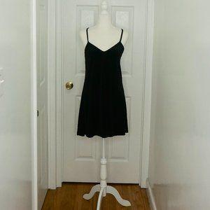 Black Velour Strap Mini Dress (Size S)